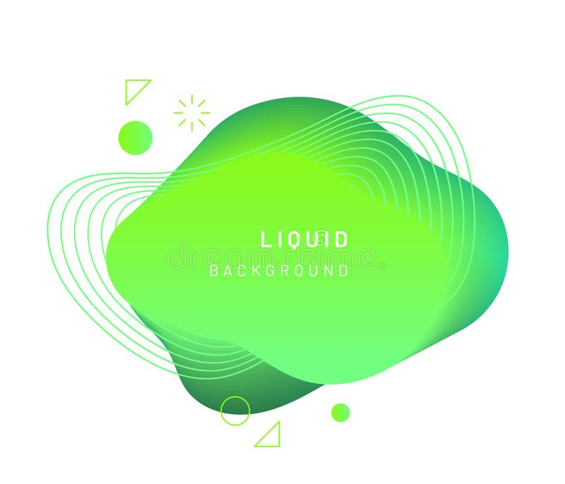 Dynamic light on fluid blotch. Gradient liquid blob with circles, triangle and wavy lines. Modern abstract background for card design or logo template stock illustration