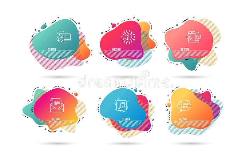 Mail newsletter, Smartphone sms and Quick tips icons. Musical note sign. Vector. Dynamic liquid shapes. Set of Mail newsletter, Smartphone sms and Quick tips vector illustration
