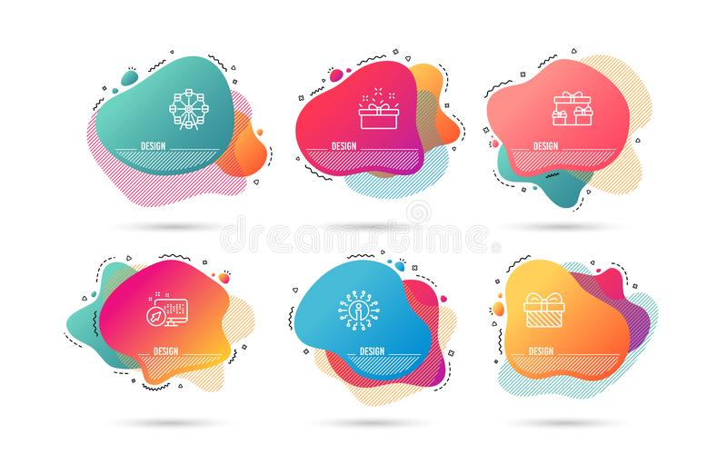 Surprise boxes, Gift and Present box icons. Ferris wheel sign. Holiday gifts, Present, Sale offer. Vector. Dynamic liquid shapes. Set of Surprise boxes, Gift and vector illustration