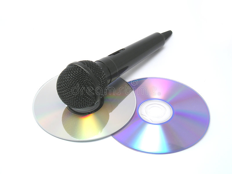 Dynamic microphone. Black dynamic microphone over white background royalty free stock image
