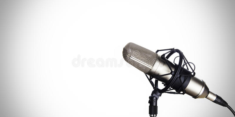 Dynamic microphone on a white background stock photos