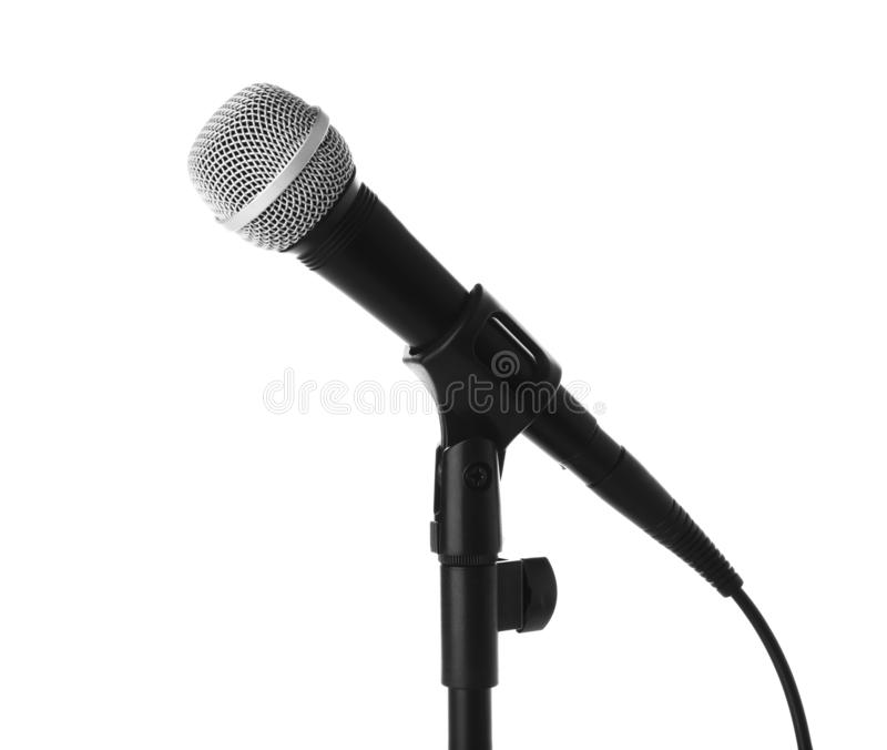 Dynamic microphone on white background. stock photos