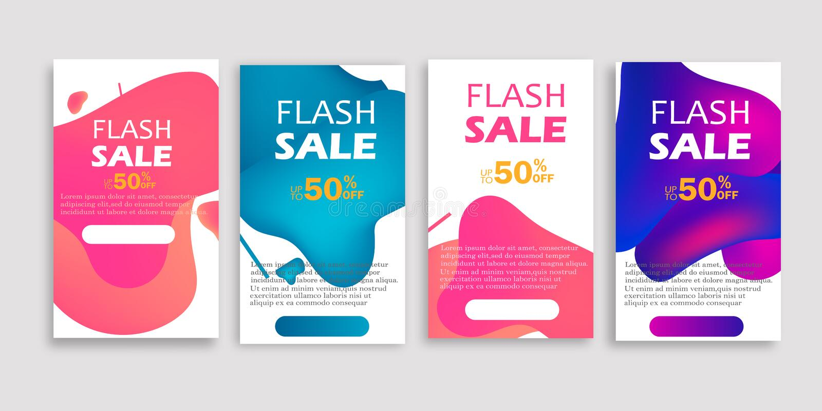 Dynamic modern fluid mobile for flash sale banners. Sale banner template design. royalty free illustration