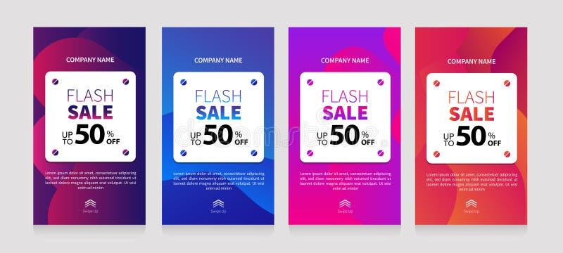 Dynamic modern fluid mobile for flash sale banners. Sale banner template design, Flash sale special offer set royalty free illustration