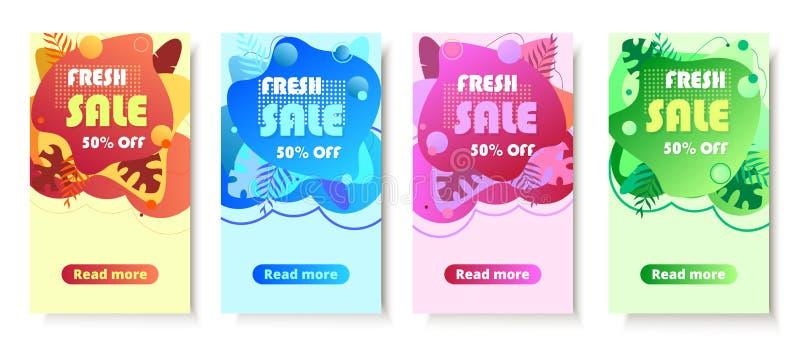 Dynamic modern fluid mobile for sale banner stock illustration