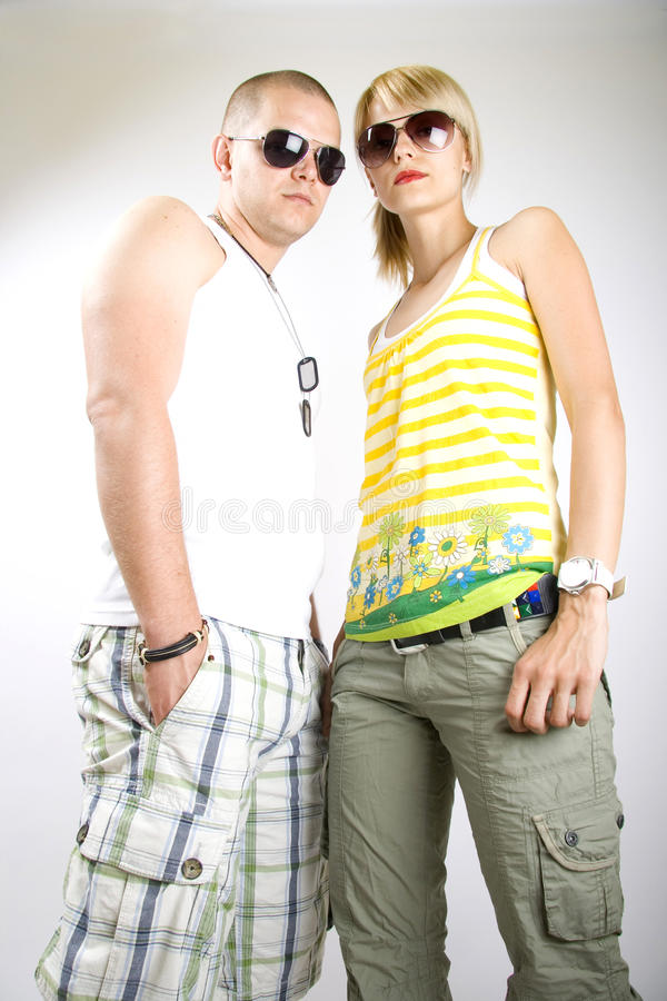 Dynamic picture of a casual young couple stock photo