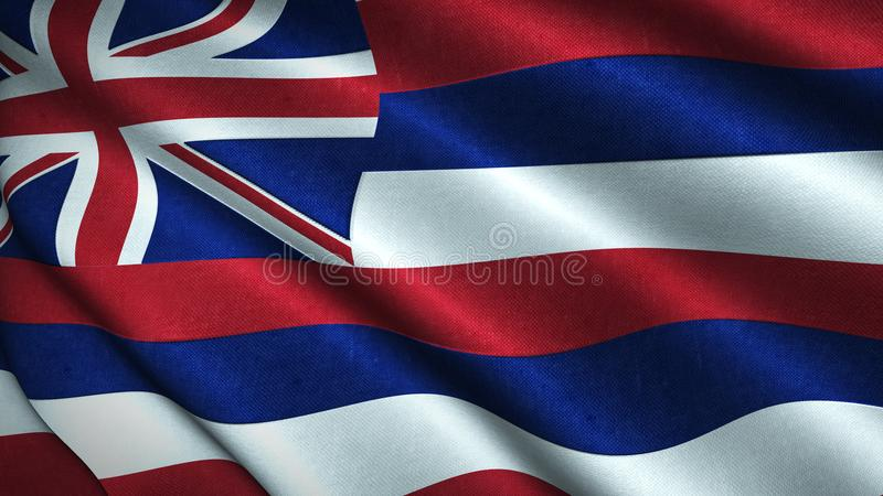 Hawaii State Flag Blowing in the Wind - Illustration Rendered in 3D. Dynamic shot of the Hawaii State Flag Blowing in the Wind - Illustration Rendered in 3D vector illustration