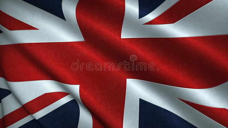 Union Jack, Flag of the United Kingdom Blowing in the Wind - UK Flag Illustration Rendered in 3D. Dynamic shot of the Union Jack, Flag of the United Kingdom royalty free illustration