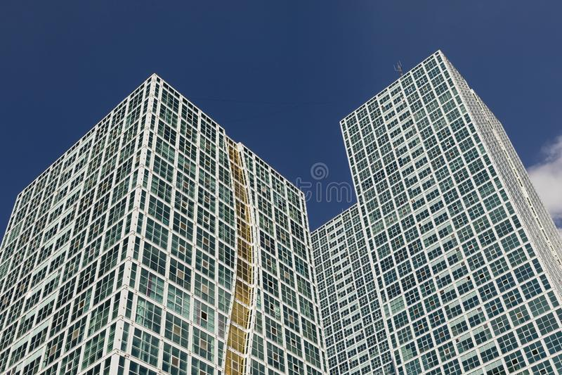 Dynamic snapshot images of modern high-rise buildings in downtown Astana, Kazakhstan. Asia stock photos