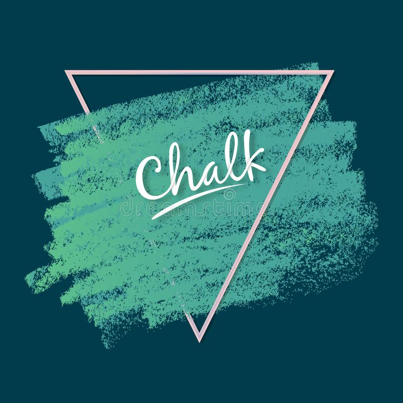 Dynamic vector strokes. Grunge texture of chalk. Wide artistic brush. Glamorous triangular frame. vector illustration