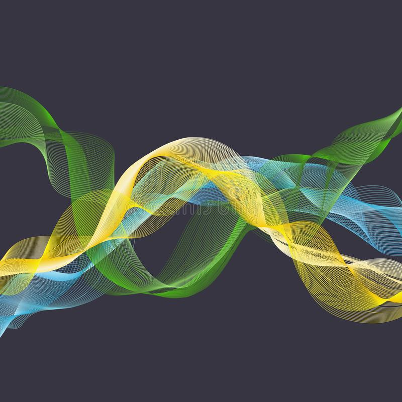 Dynamic waves illustration, abstract background royalty free illustration