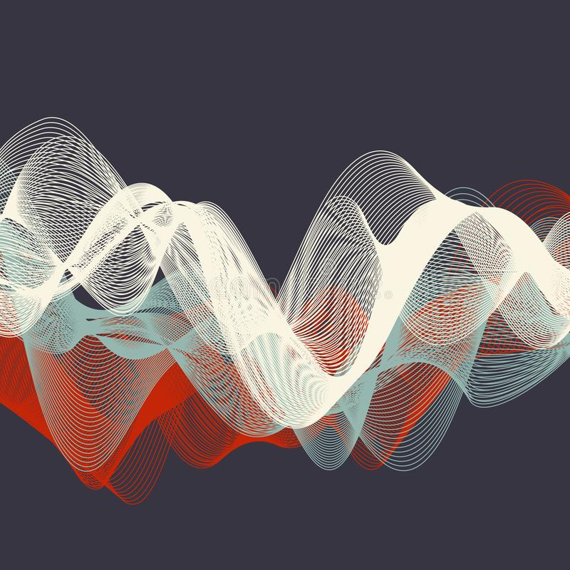 Dynamic waves illustration, abstract background vector illustration