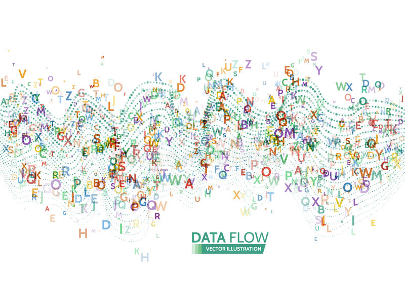 Dynamic waves technology concept. Abstract data flow background with letters code. Stream information royalty free illustration