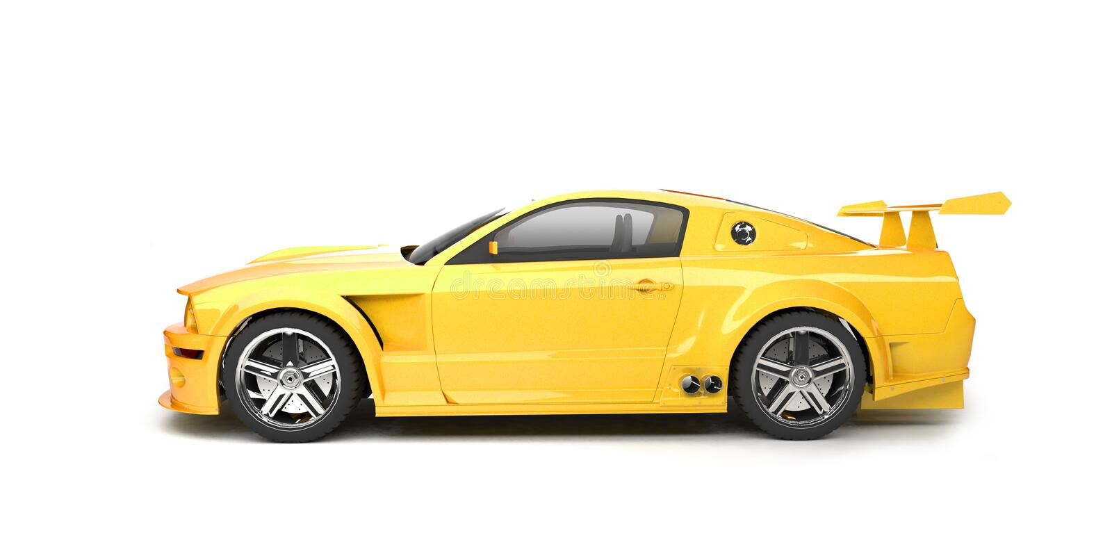 Dynamic yellow sport car side view royalty free stock image