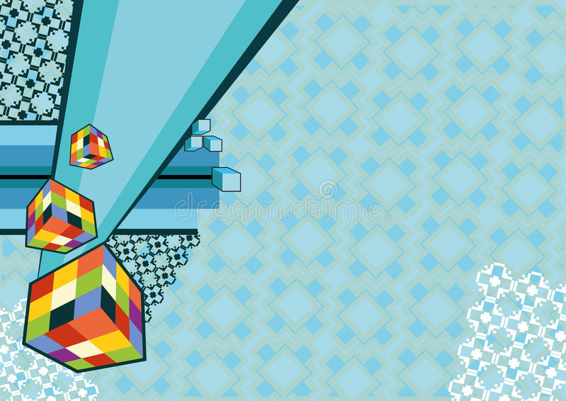Download Dynamical Wall-paper From Cubes And An Ornament Fr Stock Photo - Image: 15235770