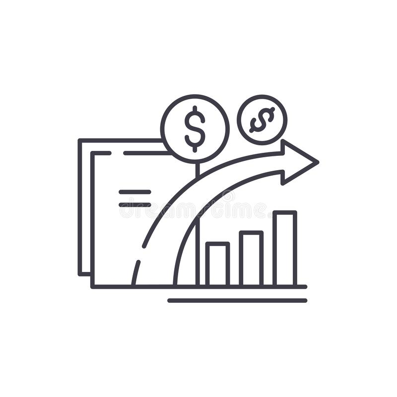 Dynamics of financial growth line icon concept. Dynamics of financial growth vector linear illustration, symbol, sign. Dynamics of financial growth line icon stock illustration