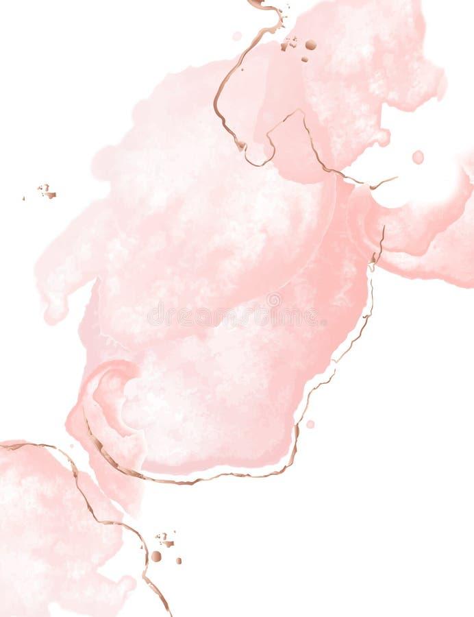 Dynamiczna fluid menchii sztuka z akwarelą bryzga wnd błyskotliwości złotych uderzenia Splendor ślubna dekoracja Oferty różany zł ilustracja wektor