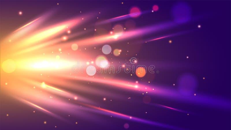 Dynamiczny abstrakcjonistyczny tło z błyszczącymi wyłania się promieniami ilustracja wektor