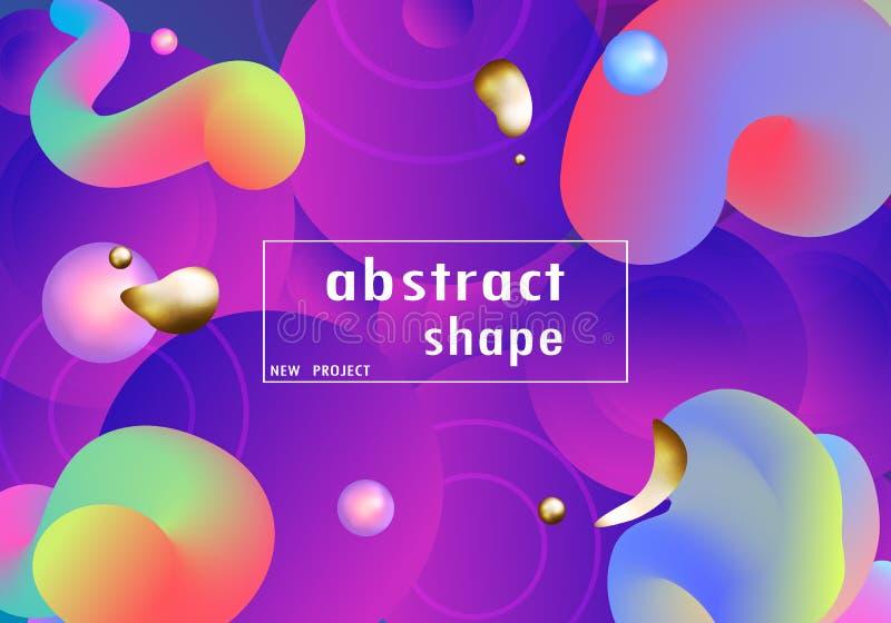 Dynamiczny kształta skład Ciekły koloru tła projekt Flui ilustracja wektor
