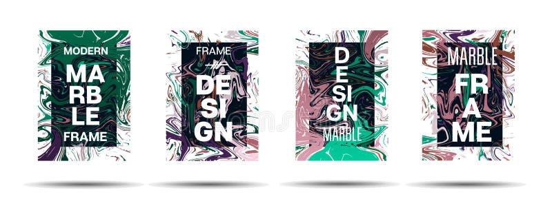 Dynamiczny Marmurowy tekstura wektoru ramy projekt Suminagashi holograma farby Ciekła reklama, Muzyczny plakat, Motywacyjny karty royalty ilustracja