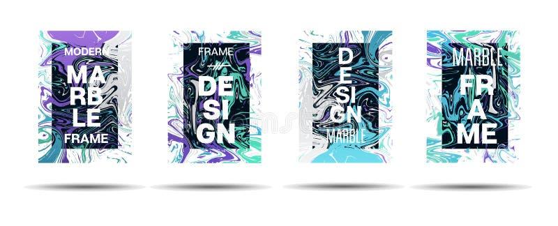Dynamiczny Marmurowy tekstura wektoru ramy projekt Suminagashi holograma farby Ciekła reklama, Muzyczny plakat, Motywacyjny karty ilustracja wektor