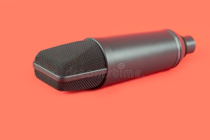 Dynamiczny mikrofon na czerwonym tle łyszczyk obraz stock