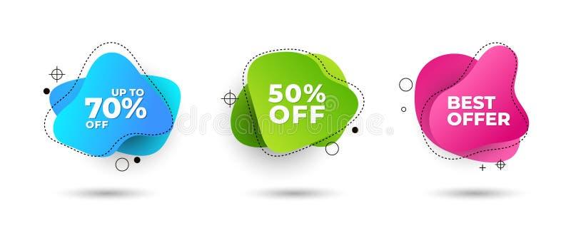 Dynamiczny nowożytny fluid dla sprzedaż sztandarów Sprzedaż sztandaru szablonu projekt, sprzedaży oferty specjalnej set Oferta sp ilustracji