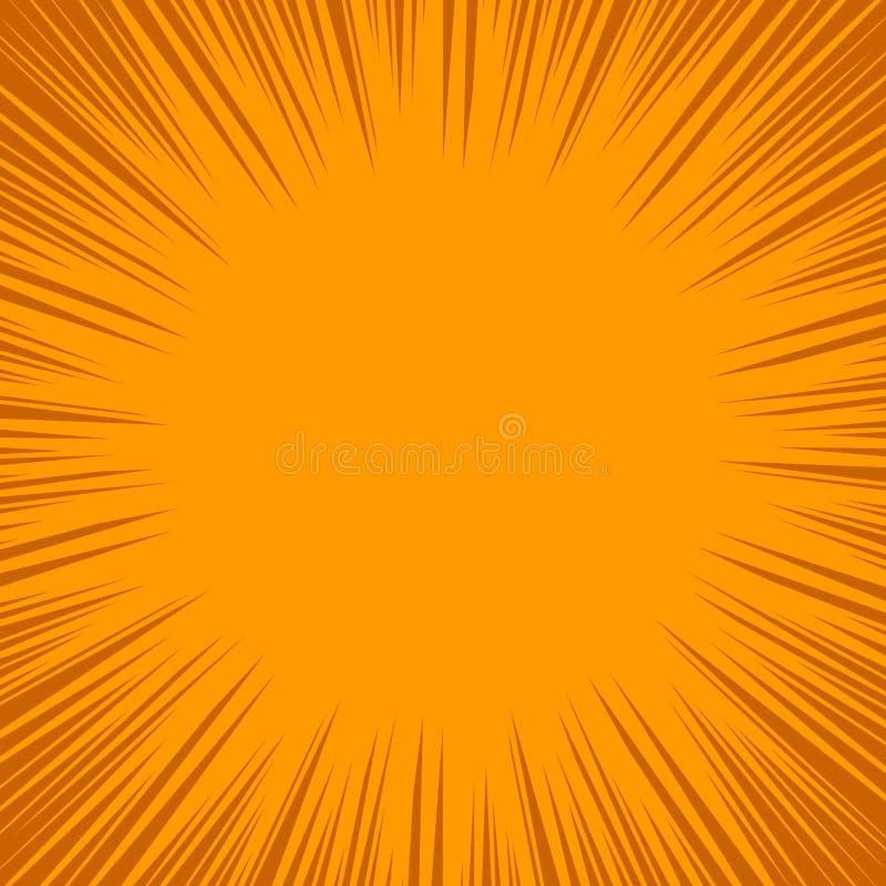 Dynamiczny wzór w pomarańczowych brzmieniach Intensywna linia Bohater rama, komiks linii promieniowy tło ilustracji