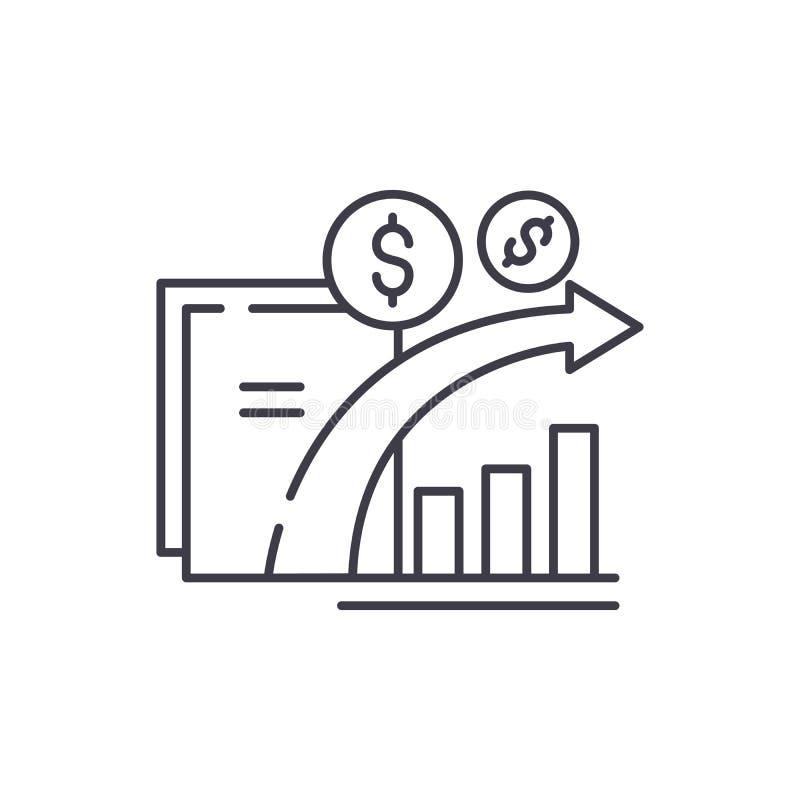 Dynamika pieniężny przyrost linii ikony pojęcie Dynamika pieniężna wzrostowa wektorowa liniowa ilustracja, symbol, znak ilustracji