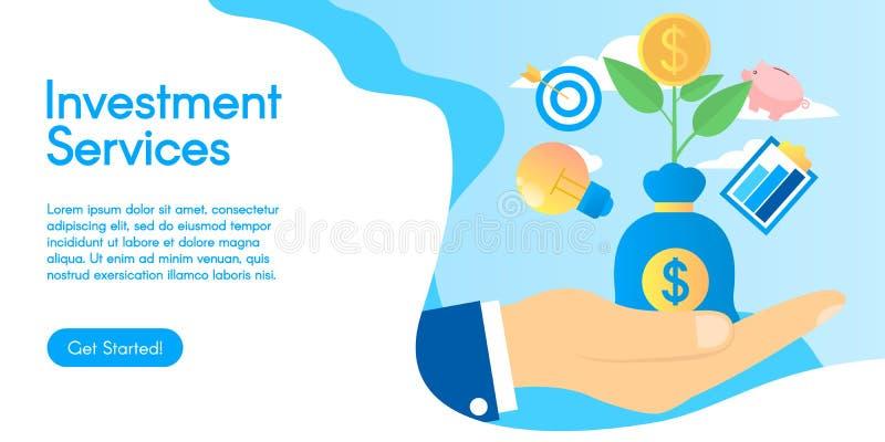Dynamique de croissance ou concept financier d'activité Concept des services d'investissement, illustration de vecteur dans la co photographie stock libre de droits