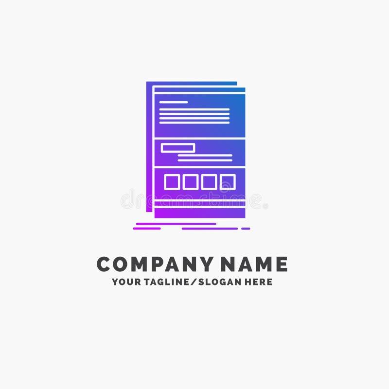Dynamisch Browser, Internet, pagina, ontvankelijke Purpere Zaken Logo Template Plaats voor Tagline royalty-vrije illustratie