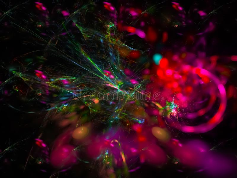 Dynamisch fractal digitaal, surreal effect geheimzinnigheid modern patroon toekomstig abstract zwart ontwerp, partij, feestelijke royalty-vrije stock foto