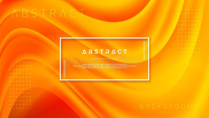 Dynamisch geweven ontwerp als achtergrond in 3D stijl met oranje kleur Vloeibare, vloeibare gradiënt vectorachtergrond stock illustratie