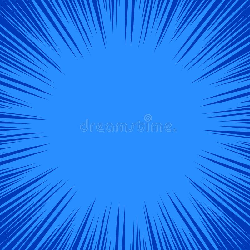 Dynamisch patroon in blauwe tonen Superherokader, de Grappige achtergrond van boek radiale lijnen, vector illustratie