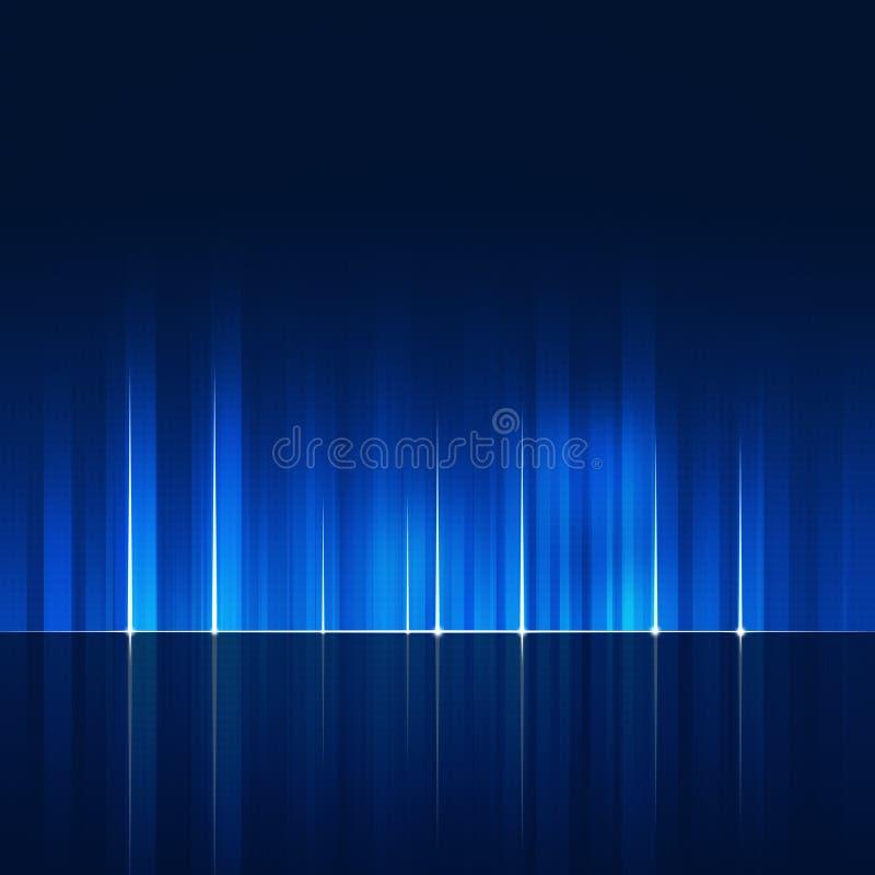Dynamische abstrakte Technologie zeichnet blauen Hintergrund lizenzfreie abbildung