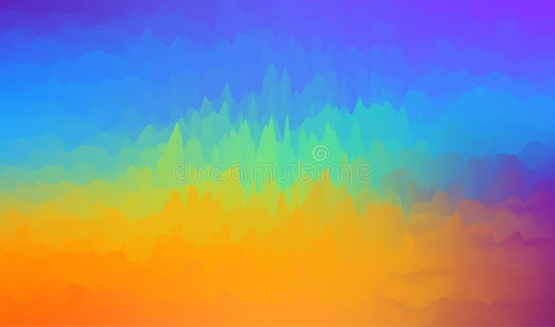 Dynamische Beschaffenheitsgraphiken des klaren Farbzusammenfassungshintergrundes Bunte Wellenhintergrundaquarellzusammenfassungs- stock abbildung