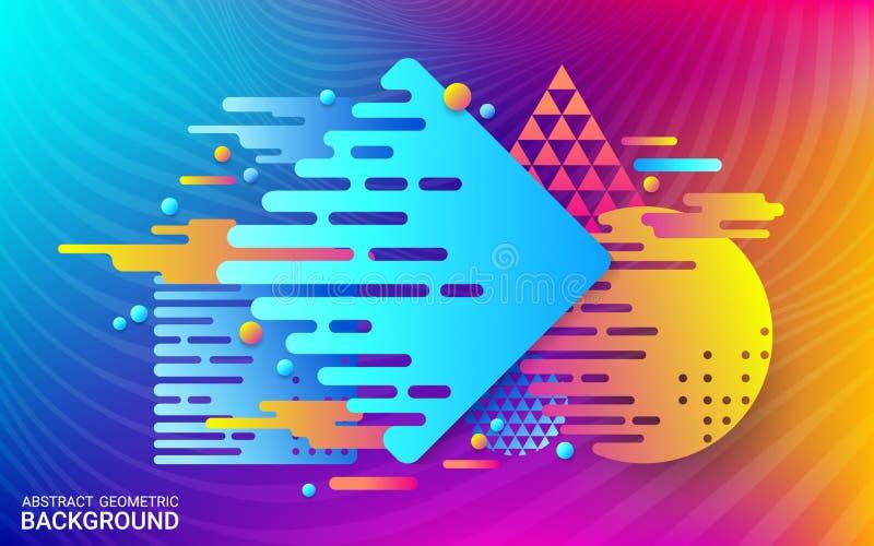 Dynamische Bewegung von geometrischen Formen Buntes futuristisches abstraktes Bild vektor abbildung