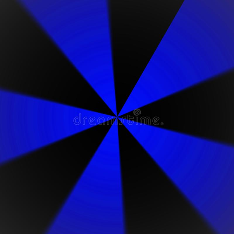 Dynamische blauwe en zwarte radiale patroon abstracte achtergrond royalty-vrije illustratie