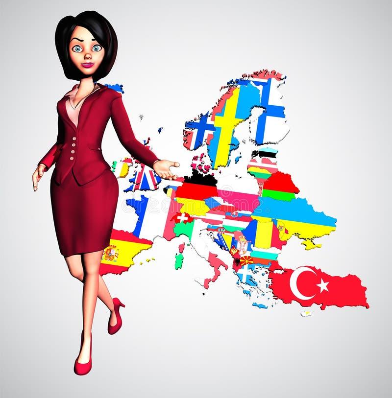 Dynamische 3D Geschäftsfrau Welcomes zu Europa stockfoto