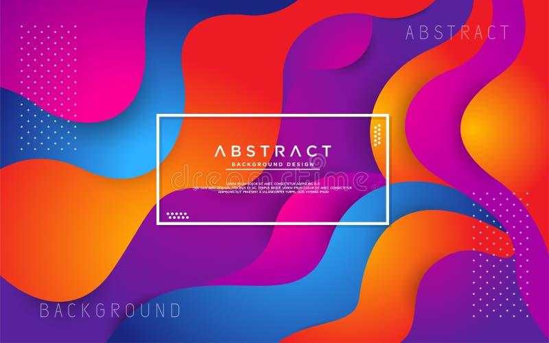 Dynamische kleurrijke vloeibare 3d achtergrond stock illustratie