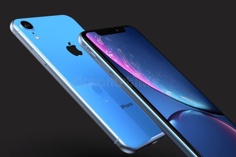Dynamische samenstelling van iPhonexr Blauwe voor en Achter stock afbeelding