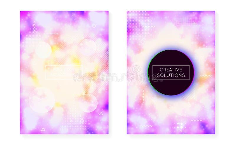 Dynamische vormachtergrond met vloeibare vloeistof De gradiënt van neonbauhaus met purpere lichtgevende dekking royalty-vrije illustratie