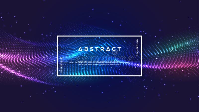 Dynamischer abstrakter flüssiger Flusspartikelhintergrund Glänzender abstrakter Partikelflusshintergrund Futuristischer Hintergru vektor abbildung