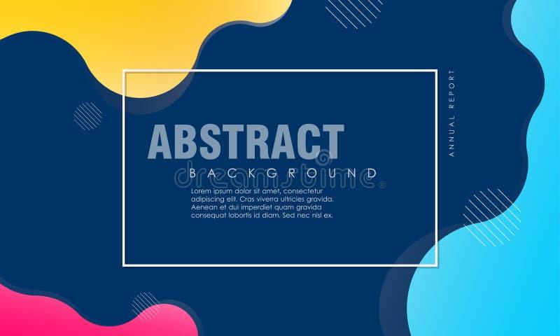 Dynamischer strukturierter Hintergrundentwurf in der Art 3D mit blauer, gelber, rosa Farbe lizenzfreie abbildung
