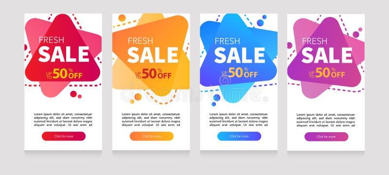 Dynamisches modernes flüssiges Mobile für grelle Verkaufsfahnen Verkaufsfahnen-Schablonenentwurf, Sonderangebot des grellen Verka lizenzfreie abbildung