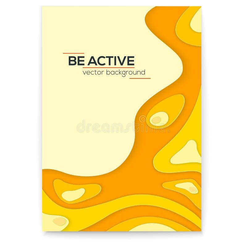 Dynamisches papercut 3D Plakat Gelbe flüssige gewellte Form mit Schatten in der minimalistic Art Multi überlagertes Papier der Zu stock abbildung