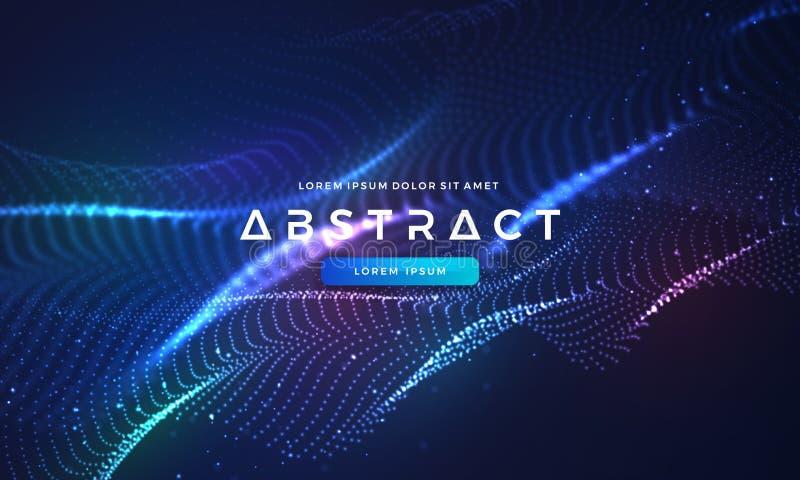 Dynamisk abstrakt v?tskefl?despartikelbakgrund Skinande abstrakt partikelfl?desbakgrund Futuristisk bakgrund med prickar vektor illustrationer