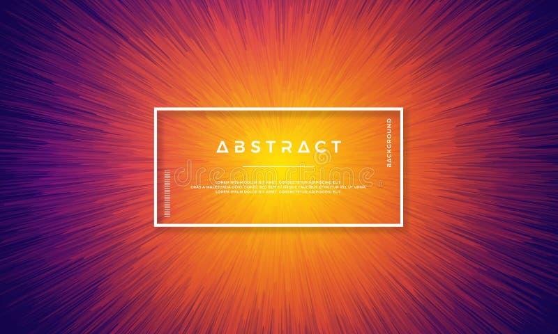 Dynamisk bakgrundsdesign med dynamiska objekt som centreras i mitt Bakgrund med en blandning av gult, rött och purpurfärgat stock illustrationer