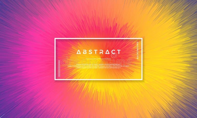 Dynamisk bakgrundsdesign med dynamiska objekt som centreras i mitt Bakgrund med en blandning av gult, rött, rosa och purpurfärgat stock illustrationer