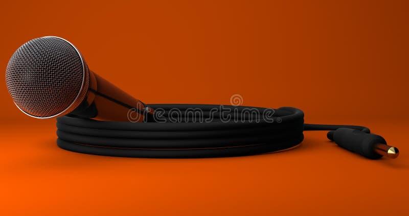Dynamisk mikrofon rullad ihop ledning Jack Plug Orange Background royaltyfri fotografi